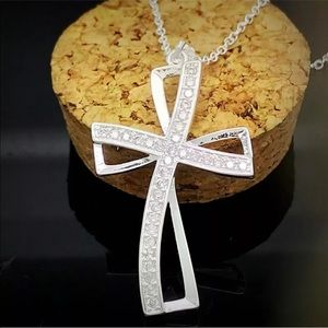 Beautiful sterling silver crystal cross with chain
